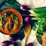 baby aubergines and potato curry