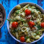 peas and avocado pesto pasta
