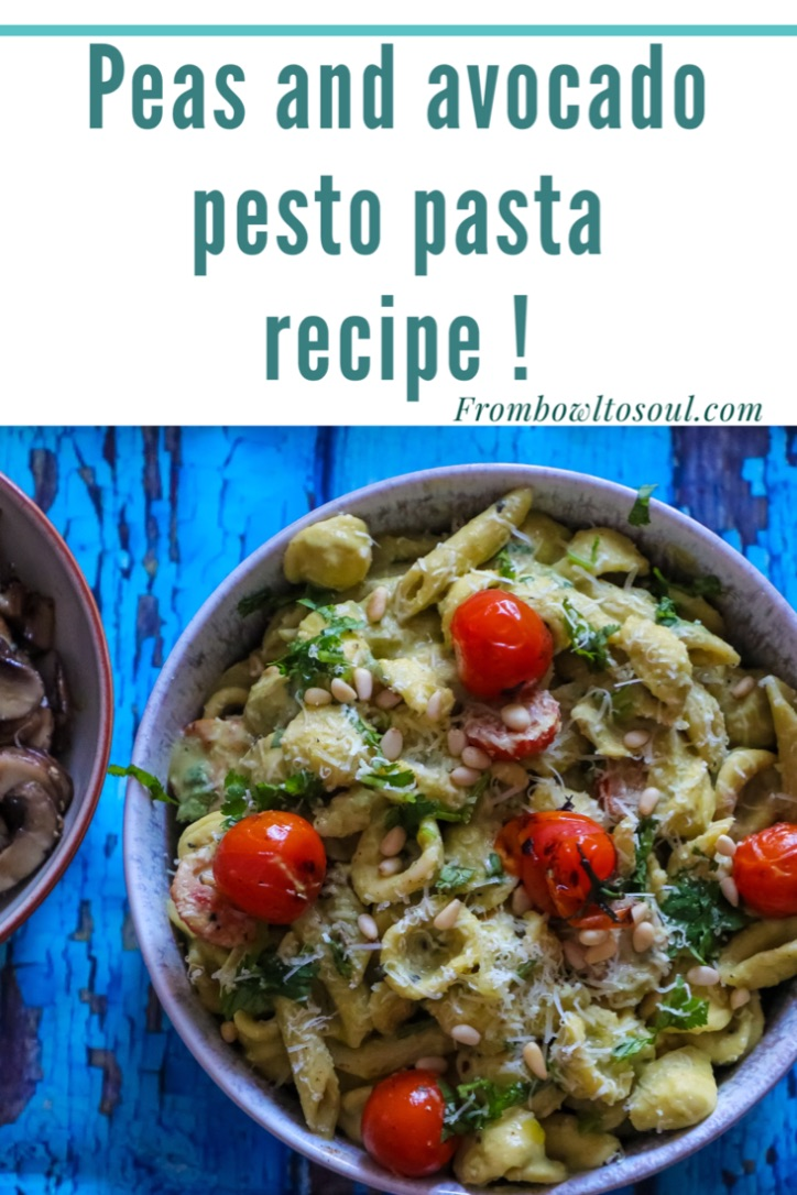 Peas and avocado pesto pasta