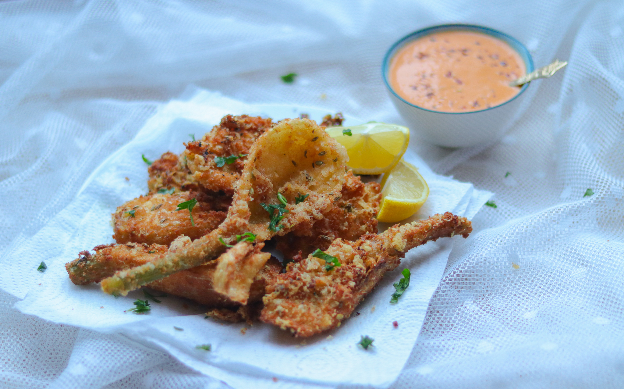Crumbed Fennel Fritters with hot pepper dip recipe