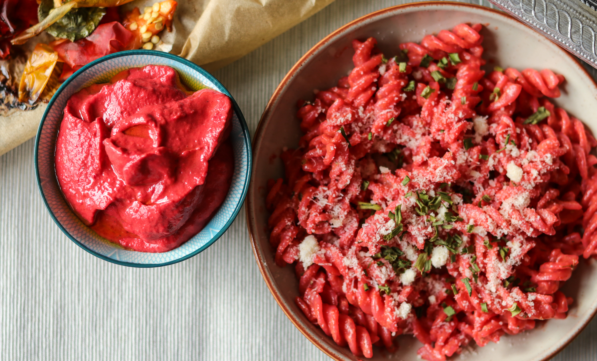 Pepper and beets pasta sauce