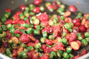 sautéed cranberries and green chillies