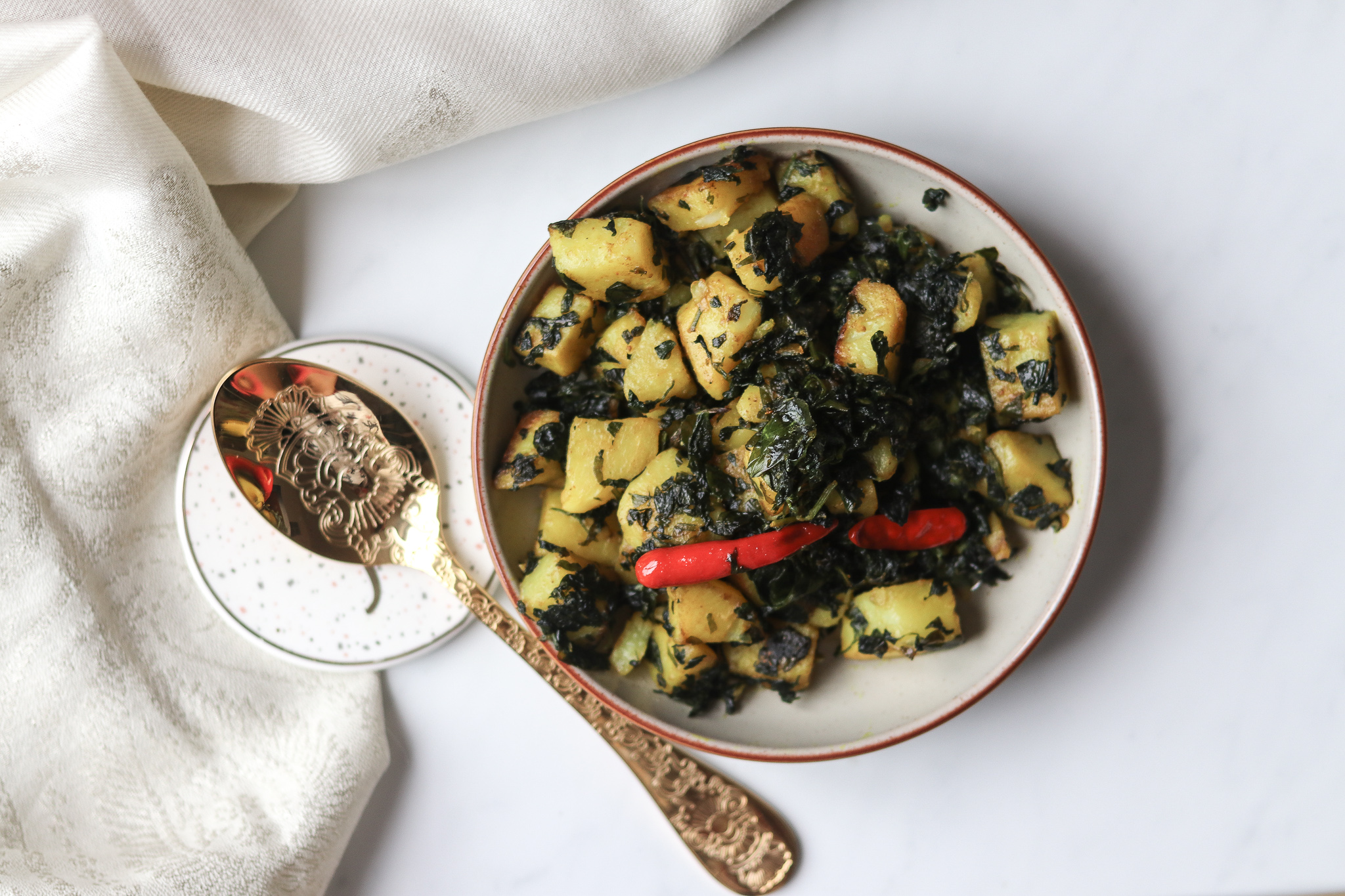 Aloo Methi / Stir fried Potato and fenugreek leaves