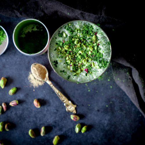 Matcha pistachio lassi