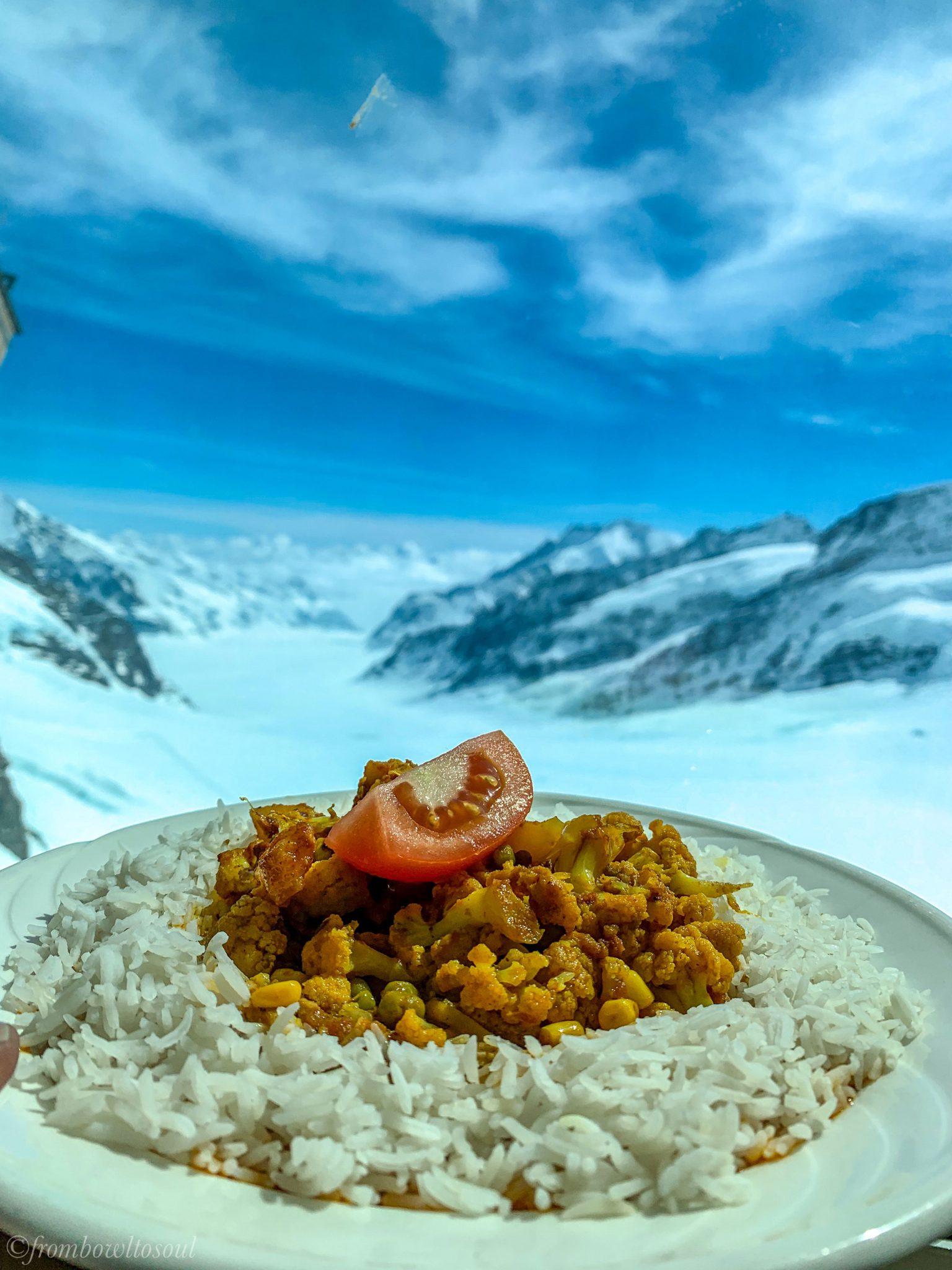 Indian food in Jungfraujoch