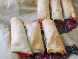 Nutella raspberry filo pastry rolls