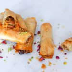 Rose jam ,pistachios and almond filled filo pastry rolls