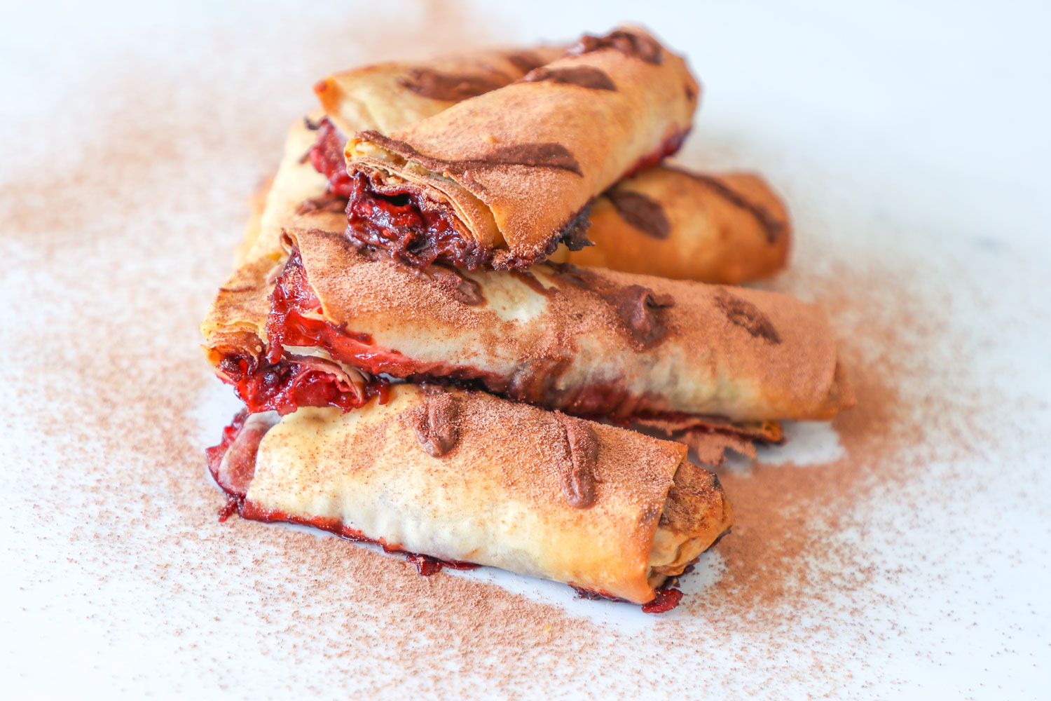Nutella and raspberry filo pastry rolls