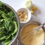 Ingredients for cooking garlic spinach kadhi or lehsuni palak kadhi
