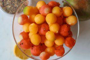 Melons Mango and herbs summer salad