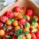 Melons Mango and herbs summer salad