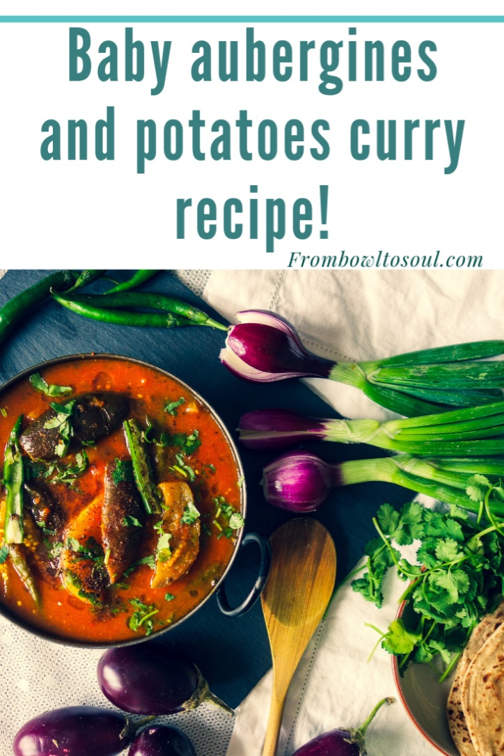 Pin it -Baby aubergines and potatoes curry recipe