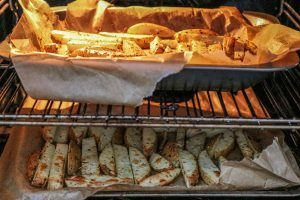 Rosemary spiced Potato wedges in the oven