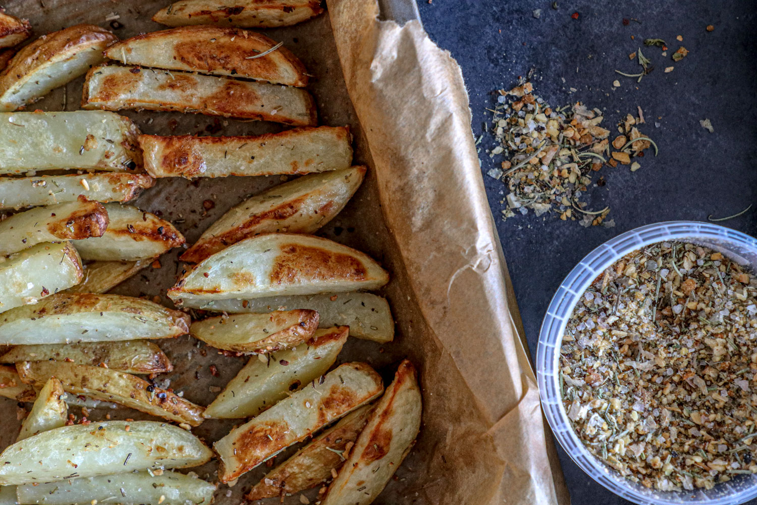 Cooked Rosemary spiced Potato wedges