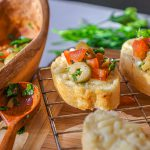 Olives and garlic bruschetta bites slices