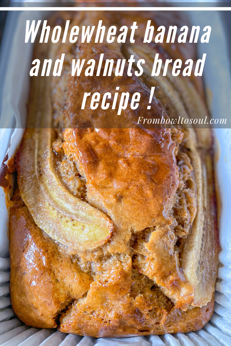 banana and walnut bread loaf in a bread loaf tin