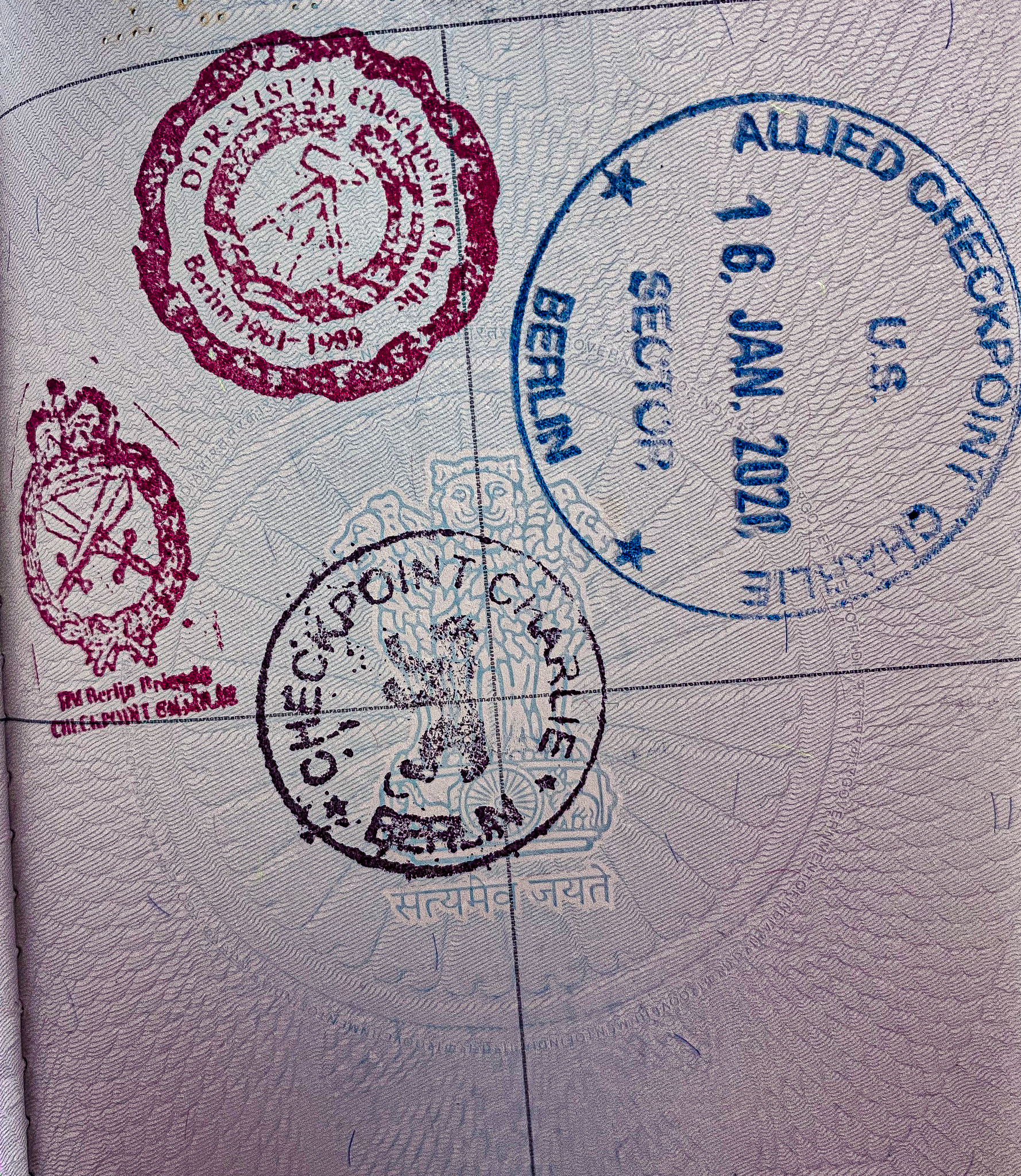 Stamped passport at checkpoint charlie