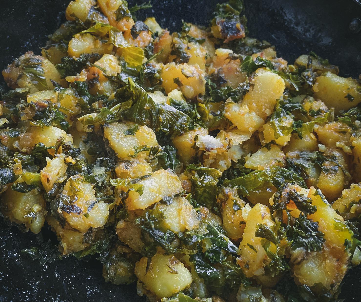 Sauteed potatoes with kale recipe