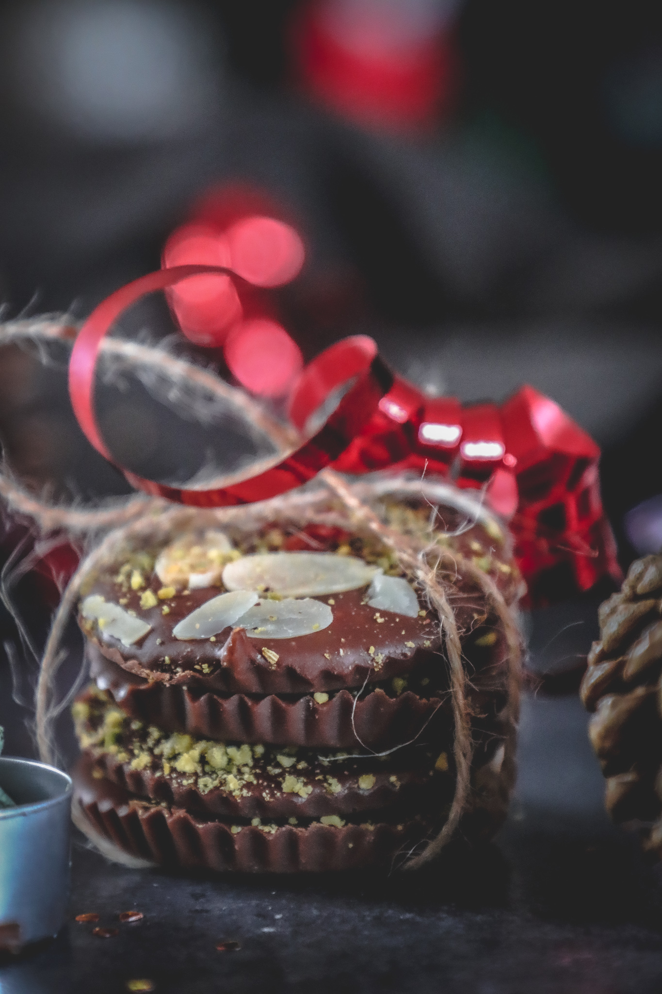 Chocolate discs gift wrapped