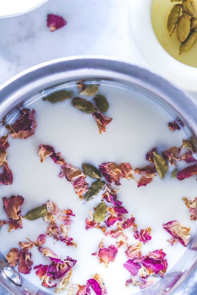 Milk infused with rose petals and cardamoms