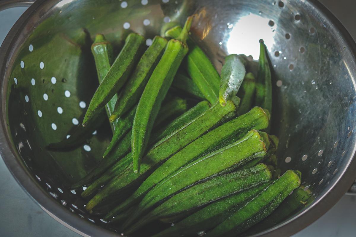 Fresh washed bhindi or okra