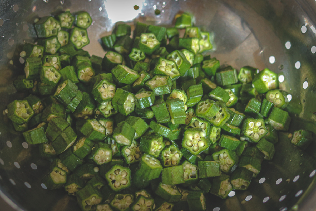 Chopped okra/ bhindi